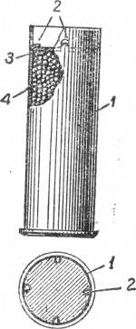 Саособ крепления дробового пыжа в металлической гильзе с помощью вырубаемых в стенке гильзы лапок