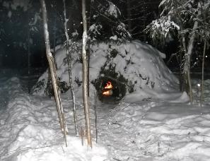 Ночлег охотника в лесу